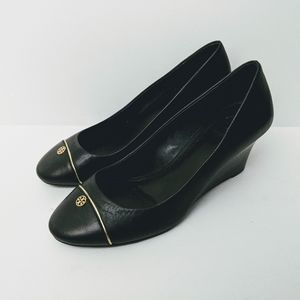 Tory Burch Tiffy Black Leather Wedge Size 7 M